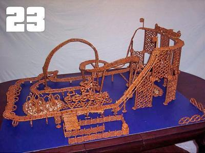 Bradley Pehr, 13, of Cary, created this pretzel coaster. He will compete in the final building competition at Busch Gardens on July 16.