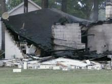 A house at the intersection of N.C. Highway 97 and Halifax Road, near Sharpsburg, went up in flames Monday evening.