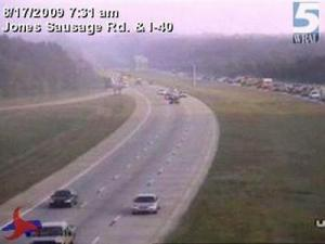 Troopers responded to a vehicle fire Monday morning on the right shoulder of Interstate 40 West, just past Jones Sausage Road.