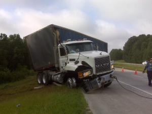 The right lane of Interstate 40 near N.C. Highway 42 in Johnston County was blocked due to a tractor-trailer crash, authorities said.