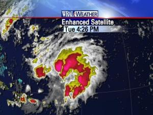 Meteorologists were keeping an eye on a tropical disturbance forming east of the Bahamas.