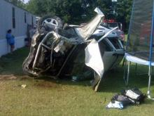 A wreck at the intersection of Nash High School and Fire Tower roads in Bailey left this car flipped on Aug. 26, 2009.