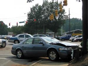 Crews were on the scene of a three-vehicle wreck at the intersection of Glenwood Avenue and Lead Mine Road in Raleigh on Aug. 27, 2009. (Submitted by Teresa Ostuni)