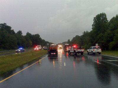 Crews were on the scene of a wreck that caused a fuel spill on U.S. Highway 70 at Buffalo Road in Johnston County on Aug. 28, 2009.