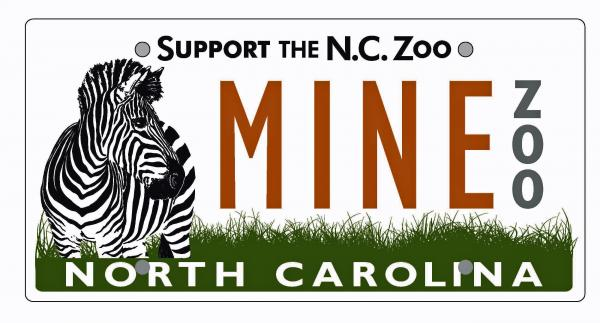 Specialty license plate for the North Carolina Zoo (Photo courtesy of the N.C. Zoo)