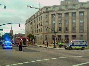 Evacuation at Department of Justice, downtown Raleigh, Sept. 10, 2009.