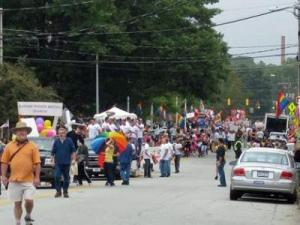 People take part in PrideFest at Duke University on Saturday, Sept. 26, 2009. (Photo by Jake Gellar-Goad)