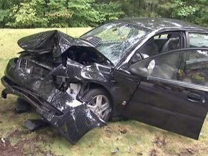 Cary police said that a black Saturn Ion ran off West Dynasty Drive, near Sudbury Drive, and struck a tree, injuring a woman the morning of Saturday, Sept. 28, 2009.