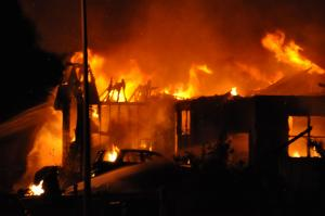 Fire destroyed this house at 35 Courtland Drive in Angier on Oct. 8, 2009. (Photo courtesy of James Miazga)