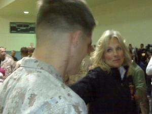 Jill Biden speaks with a Marine during a visit Oct. 14, 2009, at Camp Lejeune.