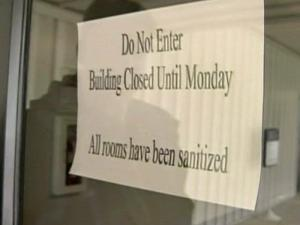 Signs posted on the doors announced the closure of Liberty Christian Academy, at 6548 Rockfish Road.