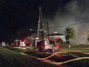An early-morning fire struck a building at 2301 E. Club Blvd. in Durham on Saturday, Oct. 17, 2009. The building houses the Lord House Prophetic Ministry and Eagle Water Systems of the Triangle.