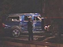 An Amtrak passenger train hit an SUV stuck on tracks in a road construction at Orange and Moore streets in Fayetteville Friday, Oct. 23, 2009.
