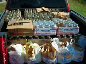 ALE agents seized 460 quart-sized mason jars of moonshine in Whitakers on Nov. 4, 2009. (Photo courtesy of Division of Alcohol Law Enforcement)