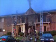 Raw: Durham firefighters battle apartment blaze