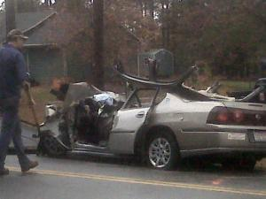 One person was killed when a car and a pickup collided head-on on Strickland Bridge Road in Fayetteville on Nov. 19, 2009.