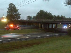 The left lane of Interstate 85 north near mile marker 191 in Granville County was closed Tuesday morning due to an overturned tractor-trailer.