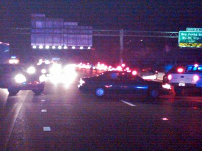 About 150 cars were being diverted after a multi-vehicle wreck on I-440 west at Glenwood Avenue in Raleigh on Nov. 27, 2009. (Photo by Andrew Cumbee)