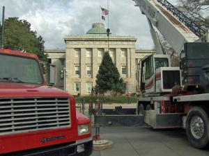 A Christmas tree is set up on the Morgan Street side of the grounds of the State Capitol building in downtown Raleigh on Nov. 30, 2009.