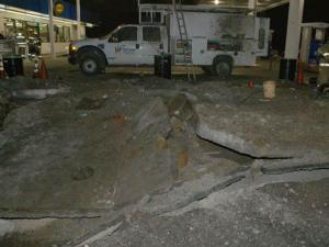 A gasoline vapor explosion on Tuesday, Dec. 15, 2009, caused some damage to the Short Shop gas station on U.S. Highway 1 in Lakeview. (Photo courtesy of Frank Staples, safety officer with the Circle V Fire Department)