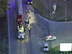 Sky 5 files over the scene of a fatal wreck Monday, Dec. 28, 2009, on U.S. Highway 70 Business, off Shotwell Road in Clayton.