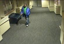Cary police officers are searching for this man who stole a flat screen TV from Colonial Baptist Church, 6051 Tryon Road, on Dec. 12, 2009.