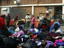 "Volunteers sorted through more than 7,000 coats Saturday, Jan. 9, 2010, at the Salvation Army, 215 South Person St., Raleigh. The coats were donated during this year's ""WRAL Coats for Children"" campaign."