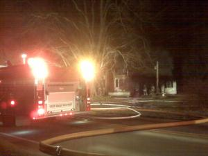 A fire at 7326 Green Hope School Road let a family of four unhurt but destroyed their home.