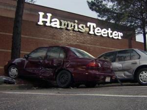 A driver caused damage to multiple vehicles and hit a tree in the parking lot of the Harris Teeter, 2080 Kildaire Farm Road in Cary, on Sunday.