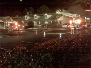 Firefighters extinguish a fire Monday, Jan. 18, 2010,   at the Golden Corral, 6129 Glenwood Ave. in Raleigh.
