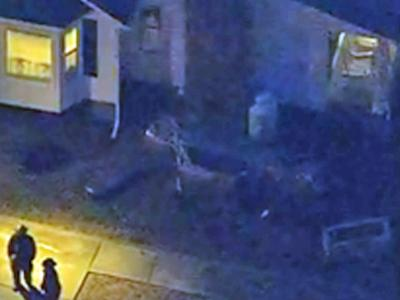 A view from Sky 5 of a car that drove into a house on Plantation Road in Clayton on Jan. 25, 2010.