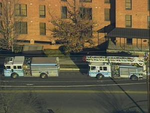 Fire trucks line the 400 block of West Rosemary Street in Chapel Hill, which police closed after a bomb threat Thursday, Feb. 18, 2010.