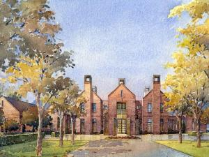 An artist's rendering depicts the 8,500-square-foot chancellor's residence N.C. State plans to build on the south shore of Lake Raleigh.