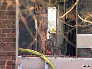 A large fire in the Hunters Point Complex, off Shadow Valley in High Point, injured two people early Sunday, Feb. 21, 2010. (Photo courtesy of WFMY News)