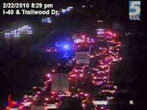 A wreck blocked traffic on Monday, Feb. 22, 2010, along Interstate 40 eastbound between Lake Wheeler Road and Gorman Street.
