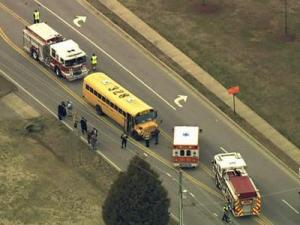 Four children were injured when their school bus was hit by a car on Dillard Drive in Raleigh on Feb. 25, 2010.
