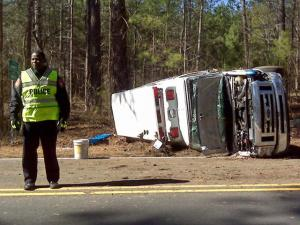 An ambulance wrecked on N.C. Highway 751, between Hillsborough and Kerley roads, in Durham County the morning of March 6, 2010, injuring the driver and an emergency medical technician.