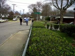 Police investigate a shooting at 1809 Oakwood Ave. in Raleigh on Monday, March 15, 2010.