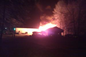 A fire broke out at Connor's Body Shop on Betts Road in Harnett County early Friday, March 26, 2010.