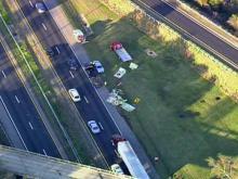 Sky 5 flies over Interstate 95 wreckage