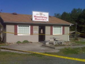 Crime scene tape surrounded Munching Marvin's in Granville County Wednesday afternoon.