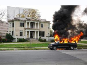 An SUV caught fire Saturday, April 3, 2010, in the 500 block of Blount Street in Raleigh. (Photo courtesy of Mike Hanna)