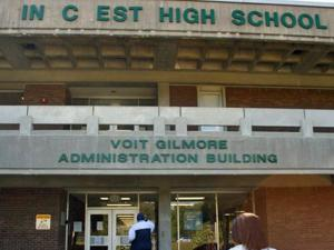 """Pinecrest High School Assistant Principal Herb Hanson said that someone broke and removed the """"P,"""" """"E"""" and """"R"""" signs that spell out the school's name on the front wall. (Photo courtesy of The Pilot/Hannah Sharpe)"""
