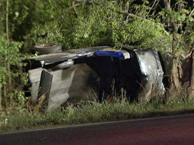 A 41-year-old Zebulon man was stuck under this pickup truck after a wreck in Johnston County early Monday.