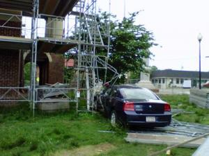 A car crashed into the fencing and scaffolding surrounding the Chatham County Courthouse on May 4, 2010. (Photo by Carolyn Miller)