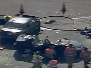 A view from Sky 5 of a wreck at the intersection of Harrison Avenue and Maynard Road in Cary on May 5, 2010.