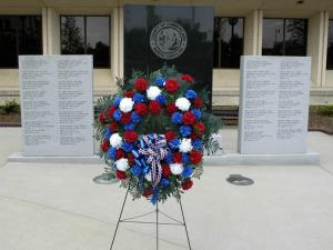 The wreath at a monument to fallen law enforcement officers was stolen on May 13, 2010, Fayetteville police said.