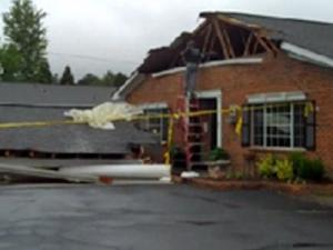 A delivery truck ran into the awning in front of an assisted living facility in Carrboro on Monday afternoon, officials said.