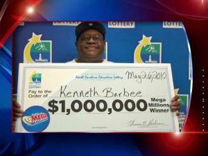 Kenneth Barbee won $1 million in the Mega Millions drawing.