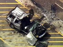 SUV wrecked at Dunn Walmart